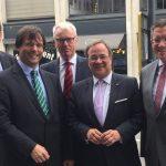 Ministerpräsident Armin Laschet, Botschafter Lüdeking, der Leiter der Landesvertretung, Hans Stein, Dietmar Brockes MdL (Europaausschussvorsitz) und Dr. Marcus Optendrenk MdL (Vorsitzender der Parlamentariergruppe NRW-Benelux)