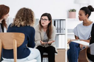 First meeting of Women's issues support group meeting, group therapy concept